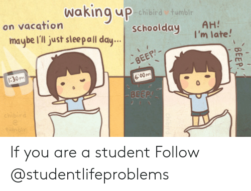 Tumblr On: Waking uP  chibird tumblr  on vacation  schoolday AH  maybe Il just sleal day  I'm late!  BEEP-  30m  6:00M  BEEP If you are a student Follow @studentlifeproblems