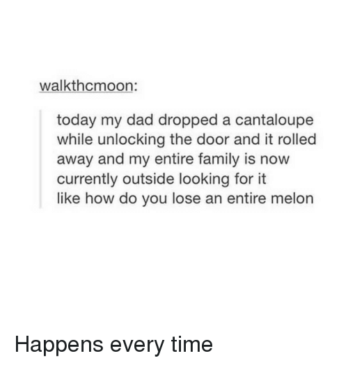 Happens Every Time: walkthcmoon:  today my dad dropped a cantaloupe  while unlocking the door and it rolled  away and my entire family is now  currently outside looking for it  like how do you lose an entire melon Happens every time