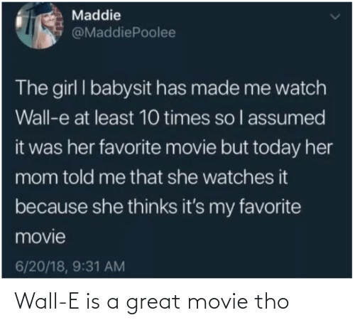 Movie: Wall-E is a great movie tho