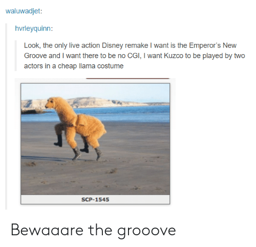 Emperor's New Groove: waluwadjet:  hvrleyquinn:  Look, the only live action Disney remake I want is the Emperor's New  Groove and I want there to be no CGI, I want Kuzco to be played by two  actors in a cheap llama costume  SCP-1545 Bewaaare the grooove