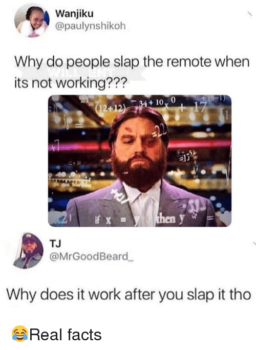 Facts, Memes, and Work: Wanjiku  @paulynshikoh  Why do people slap the remote when  its not working???  al  en  TJ  @MrGoodBeard  Why does it work after you slap it tho 😂Real facts