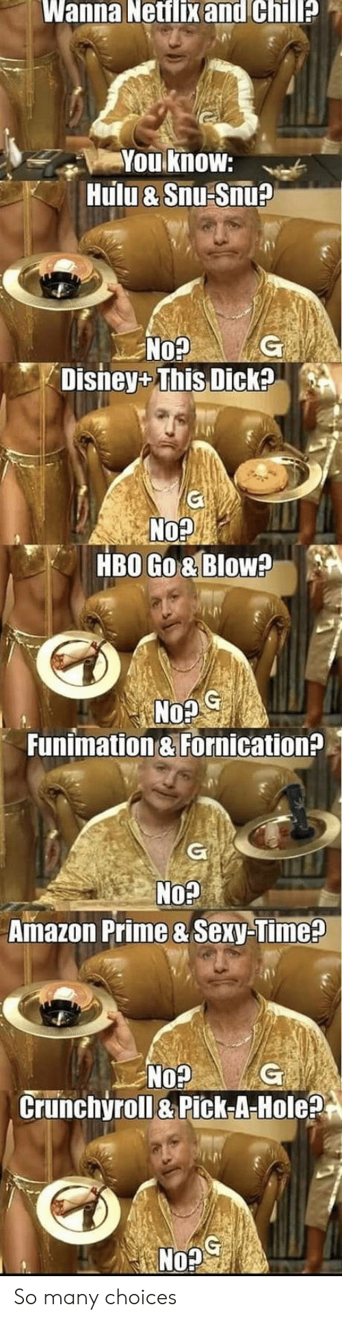 hole: Wanna Netflix and Chill?  You know:  Hulu & Snu Snu?  G  No?  Disney+ This Dick?  No?  HBO Go& Blow?  G  No?  Funimation & Fornication?  G  No?  Amazon Prime & Sexy-Time?  No?  Crunchyroll&Pick-A-Hole?  G So many choices