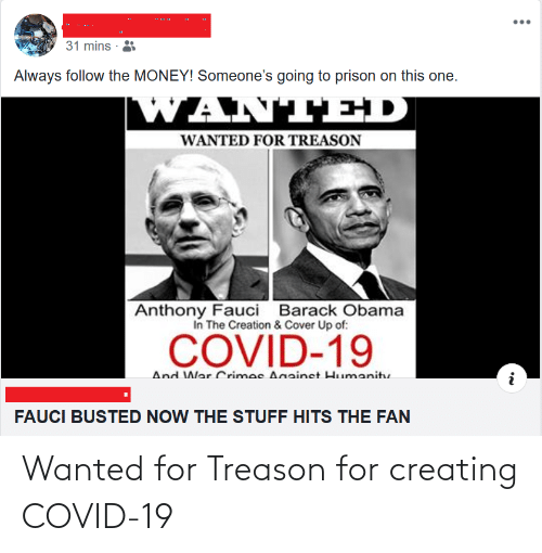 creating: Wanted for Treason for creating COVID-19