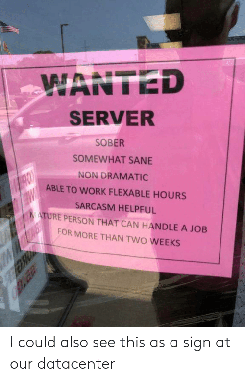 Work, Sober, and Sarcasm: WANTED  SERVER  SOBER  SOMEWHAT SANE  NON DRAMATIC  MRO  ABLE TO WORK FLEXABLE HOURS  SARCASM HELPFUL  MATURE PERSON THAT CAN HANDLE A JOB  FOR MORE THAN TWO WEEKS  Daa I could also see this as a sign at our datacenter