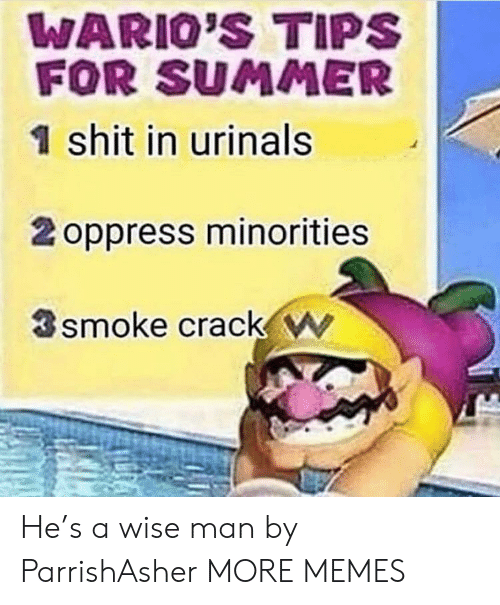 urinals: WARIO'S TIPS  FOR SUMMER  1 shit in urinals  2 oppress minorities  smoke crack w He's a wise man by ParrishAsher MORE MEMES