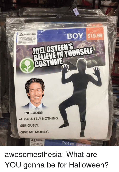 Halloween, Money, and Tumblr: WARNING  BOY $19.99  MAY CLENO TO NOSE AND  MOUTH AND PREVENT  NOT ATOY  JOEL OSTEEN'S  BELIEVE IN YOURSELF  COSTUME  INCLUDES:  ABSOLUTELY NOTHING  -SERIOUSLY.  -GIVE ME MONEY  AWARNING awesomesthesia:  What are YOU gonna be for Halloween?