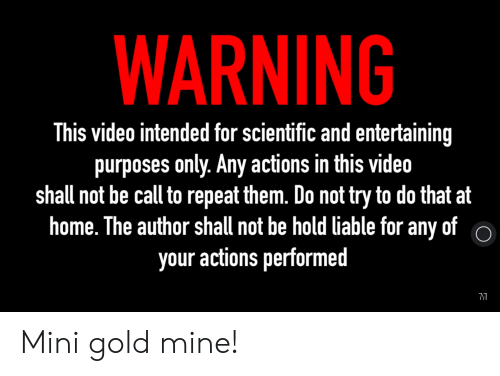 Home, Video, and Engrish: WARNING  This video intended for scientific and entertaining  purposes only. Any actions in this video  shall not be call to repeat them. Do not try to do that at  home. The author shall not be hold liable for any of  your actions performed  o Mini gold mine!