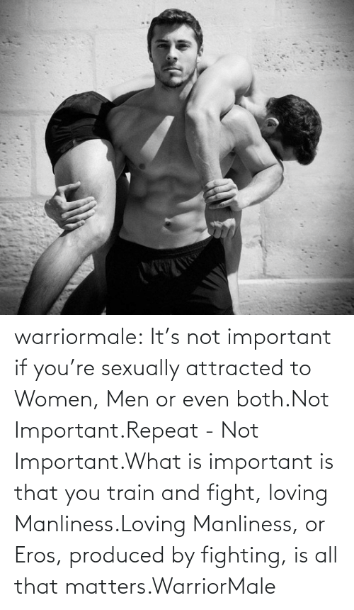 If Youre: warriormale:  It's not important if you're sexually attracted to Women, Men or even both.Not Important.Repeat - Not Important.What is important is that you train and fight, loving Manliness.Loving Manliness, or Eros, produced by fighting, is all that matters.WarriorMale