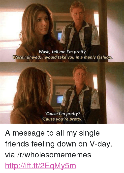 "Fashion, Friends, and Http: Wash, tell me I'm pretty.  Were I unwed, I would take you in a manly fashion  'Cause I'm pretty?  Cause you're pretty. <p>A message to all my single friends feeling down on V-day. via /r/wholesomememes <a href=""http://ift.tt/2EqMy5m"">http://ift.tt/2EqMy5m</a></p>"
