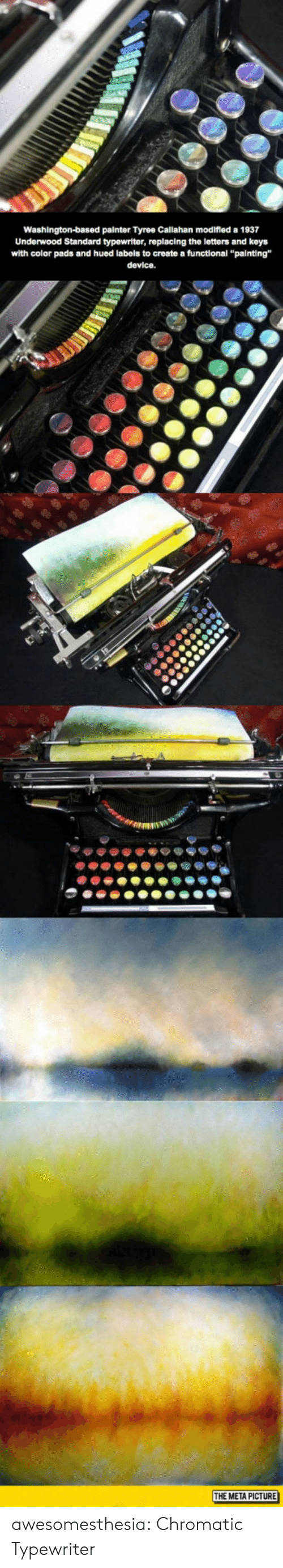 "tyree: Washington-based painter Tyree Callahan modifled a 1937  Underwood Standard typewriter, replacing the letters and keys  with color pads and hued labels to create a functional ""painting""  device.  THE META PICTURE awesomesthesia:  Chromatic Typewriter"