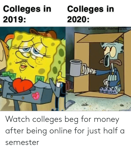 Money: Watch colleges beg for money after being online for just half a semester
