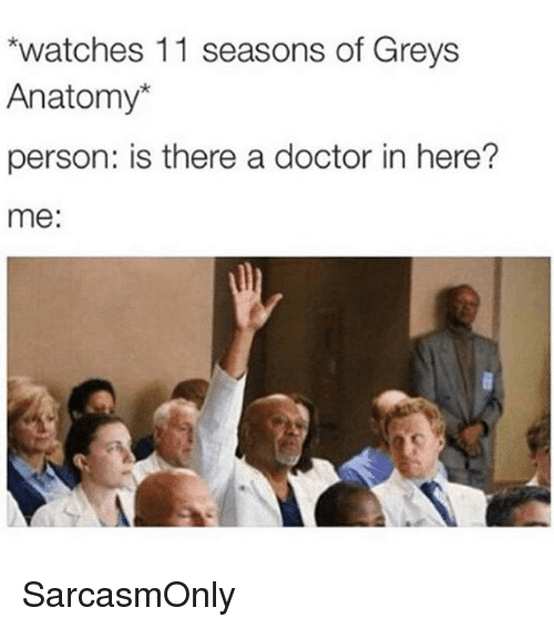 Doctor, Funny, and Memes: watches 11 seasons of Greys  Anatomy*  person: is there a doctor in here?  me: SarcasmOnly