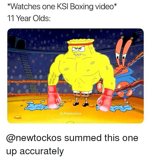 Boxing, Memes, and Video: *Watches one KSI Boxing video*  11 Year Olds:  İG:Newtockos @newtockos summed this one up accurately