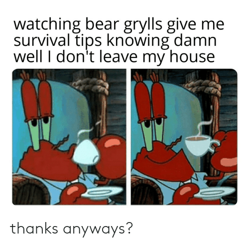 My House, Bear, and House: watching bear grylls give me  survival tips knowing damn  well I don't leave my house thanks anyways?