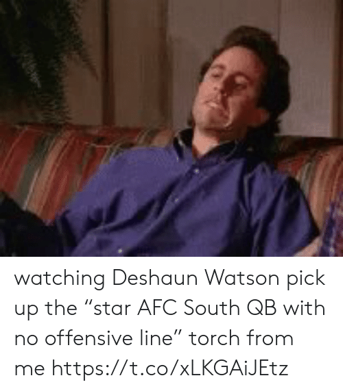 """Offensive Line: watching Deshaun Watson pick up the """"star AFC South QB with no offensive line"""" torch from me https://t.co/xLKGAiJEtz"""