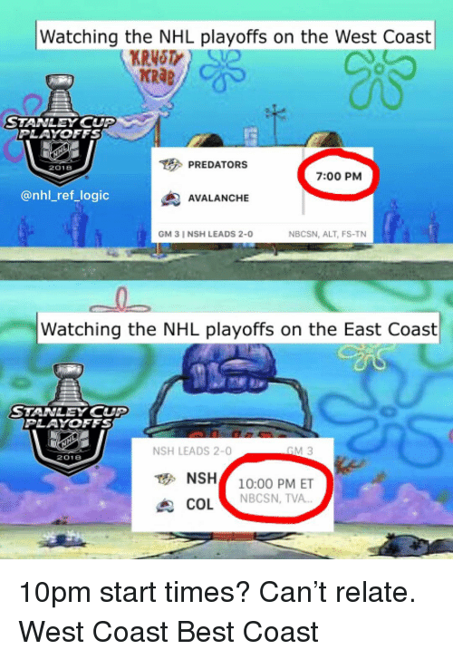 """avalanche: Watching the NHL playoffs on the West Coast  KRAB  STANLEY CUP  PLAYOFFS  PREDATORS  2018  7:00 PM  @nhl_ref_logic  AVALANCHE  GM 3 I NSH LEADS 2-0  NBCSN, ALT, FS-TN  Watching the NHL playoffs on the East Coast  STANLEY CUP  PLAYOFFS  NSH LEADS 2-0  2018  NSH10:00 PM ET  COL """"  NBCSN, TVA 10pm start times? Can't relate. West Coast Best Coast"""