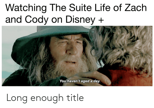 Disney, Life, and Lord of the Rings: Watching The Suite Life of Zach  and Cody on Disney  You haven't aged a day. Long enough title