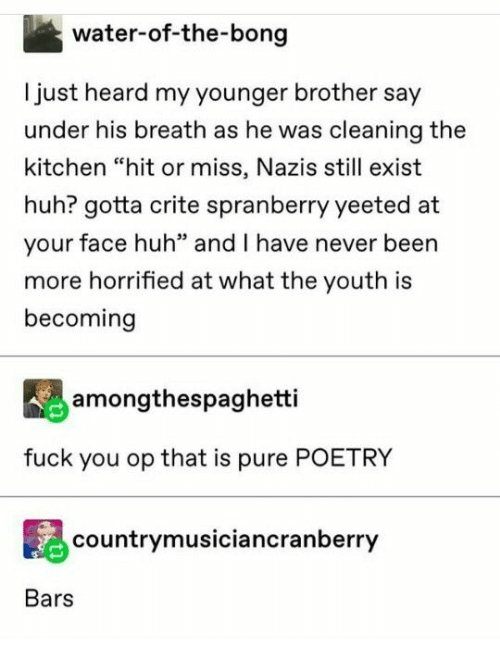 "Fuck You, Huh, and Fuck: water-of-the-bong  Ijust heard my younger brother say  under his breath as he was cleaning the  kitchen ""hit or miss, Nazis still exist  huh? gotta crite spranberry yeeted at  your face huh"" and I have never been  more horrified at what the youth is  becoming  amongthespaghetti  fuck you op that is pure POETRY  countrymusiciancranberry  Bars"