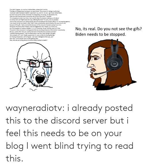 To Be: wayneradiotv: i already posted this to the discord server but i feel this needs to be on your blog   I went blind trying to read this.