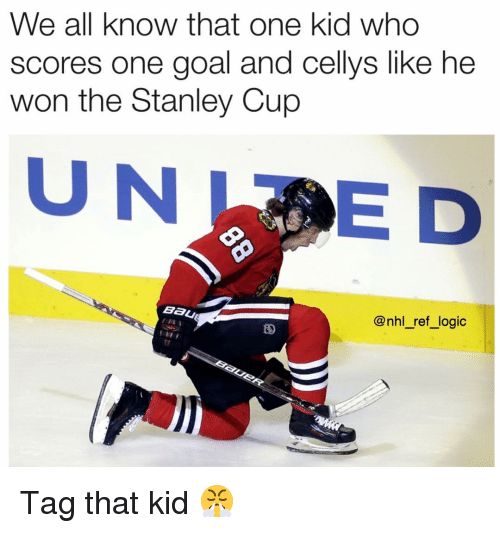 Logic, Memes, and National Hockey League (NHL): We all know that one kid who  scores one goal and cellys like he  won the Stanley Cup  UNE D  Bau  @nhl_ref_logic  tr Tag that kid 😤