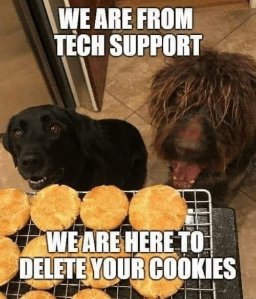 Cookies, Dank, and Tech Support: WE ARE FROM  TECH SUPPORT  S2.  WEARE HERE TO  DELETE YOUR COOKIES