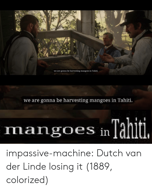 Dutch Language: we are gonna be harvesting mangoes in Tahiti   we are gonna be harvesting mangoes in Tahiti.   Tahiti.  mangoes in impassive-machine:  Dutch van der Linde losing it  (1889, colorized)