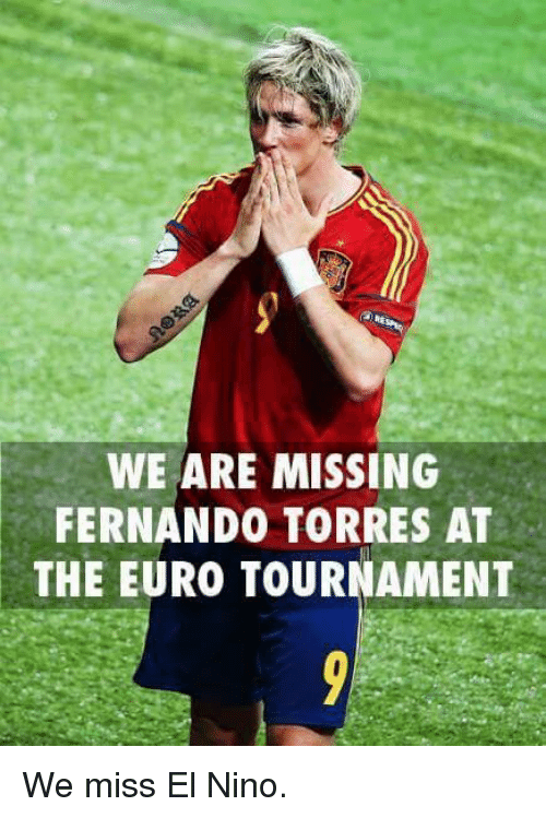 Fernando Torres: WE ARE MISSING  FERNANDO TORRES AT  THE EURO TOURNAMENT We miss El Nino.