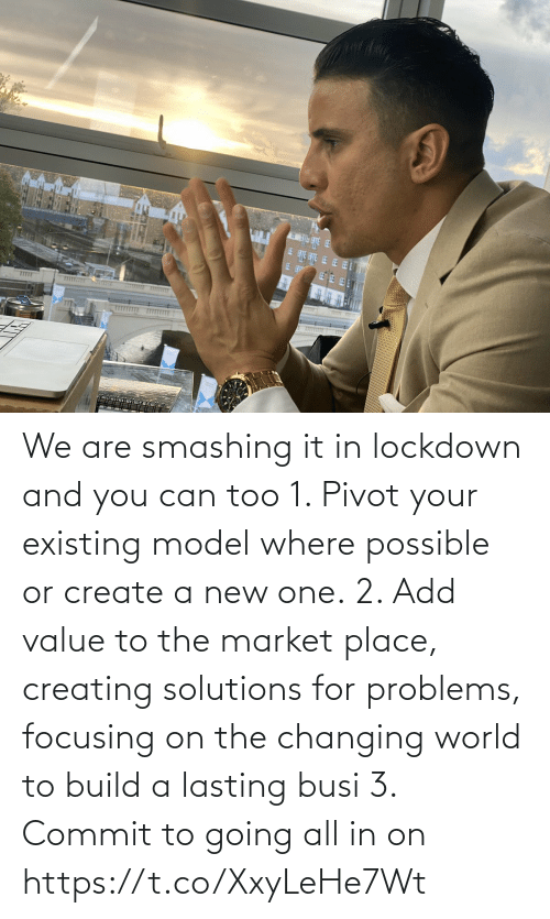 creating: We are smashing it in lockdown and you can too   1. Pivot your existing model where possible or create a new one.  2. Add value to the market place, creating solutions for problems, focusing on the changing world to build a lasting busi  3. Commit to going all in on https://t.co/XxyLeHe7Wt