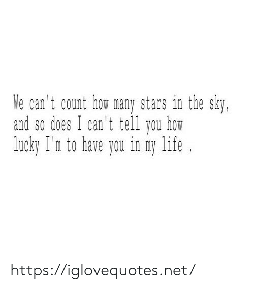 We Cant: We can't count how many stars in the sky,  and so does I can't tell you how  lucky I'n to have you in my life https://iglovequotes.net/