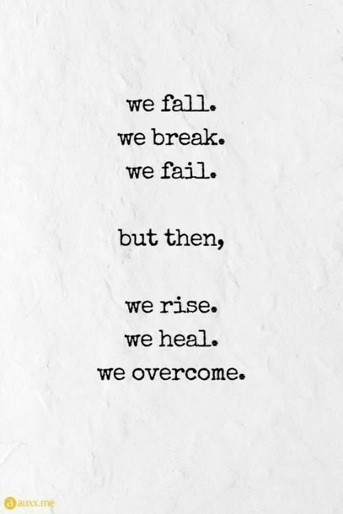 Fail, Fall, and Break: we fall.  we break.  we fail.  but then,  we rise.  we heal.  we overcome.  a auxx.me  auuxx