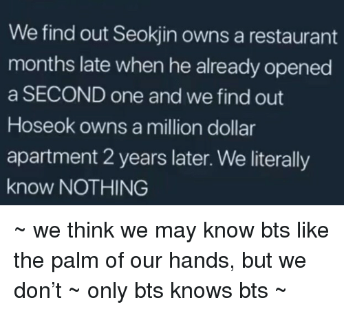 Seokjin: We find out Seokjin owns a restaurant  months late when he already opened  a SECOND one and we find out  Hoseok owns a million dollar  apartment 2 years later. We literally  know NOTHING ~ we think we may know bts like the palm of our hands, but we don't ~ only bts knows bts ~