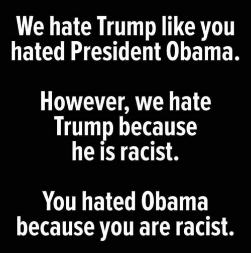 Memes, Obama, and Trump: We hate Trump like you  hated President Obama.  However, we hate  Trump because  he is racist.  You hated Obama  because you are racist.