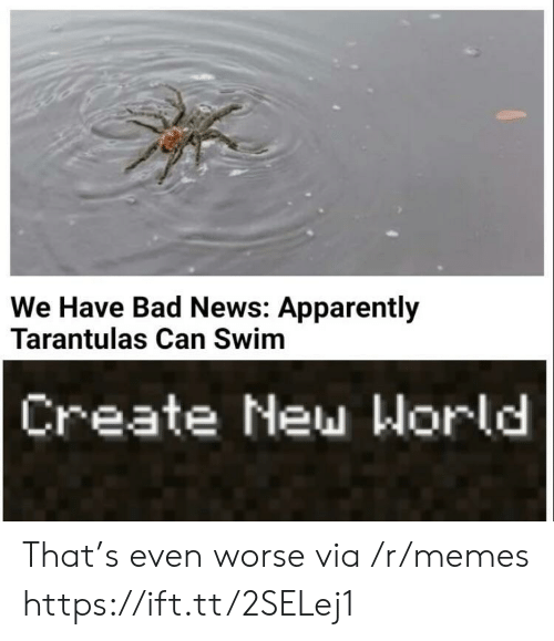 Apparently, Bad, and Memes: We Have Bad News: Apparently  Tarantulas Can Swim  Create New World That's even worse via /r/memes https://ift.tt/2SELej1