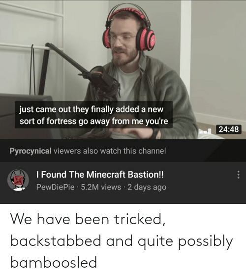Possibly: We have been tricked, backstabbed and quite possibly bamboosled