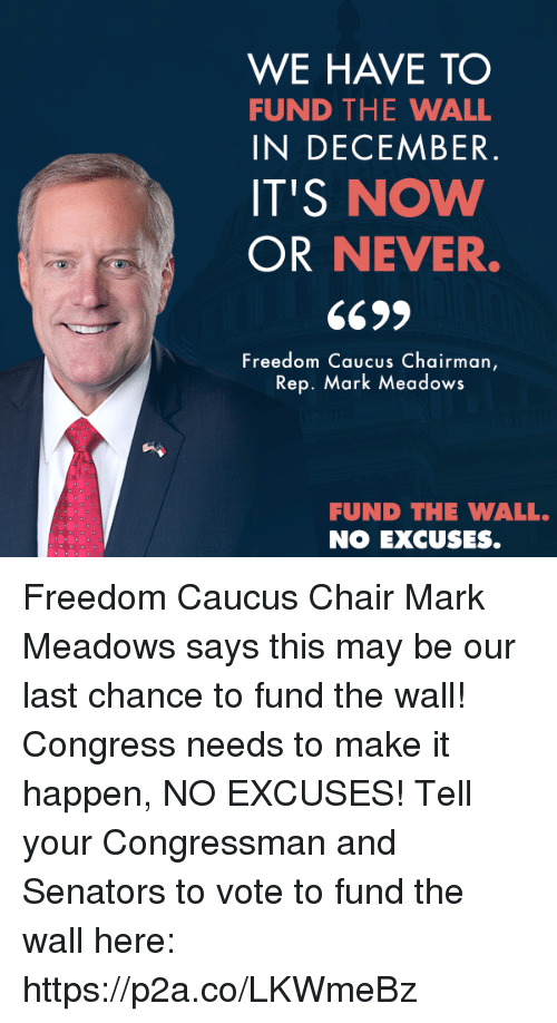 senators: WE HAVE TO  FUND THE WALL  IN DECEMBER  IT'S NOW  OR NEVER.  Freedom Caucus Chairman  Rep. Mark Meadows  FUND THE WALL.  NO EXCUSES. Freedom Caucus Chair Mark Meadows says this may be our last chance to fund the wall! Congress needs to make it happen, NO EXCUSES!  Tell your Congressman and Senators to vote to fund the wall here: https://p2a.co/LKWmeBz
