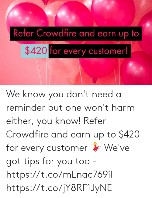 For You: We know you don't need a reminder but one won't harm either, you know!  Refer Crowdfire and earn up to $420 for every customer 💃  We've got tips for you too - https://t.co/mLnac769il https://t.co/jY8RF1JyNE