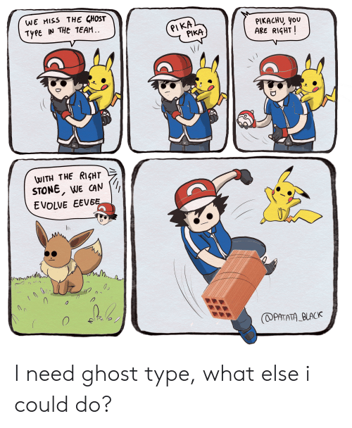 Funny, Pikachu, and Black: WE MISS THE GHOST  TYPE IN THE TEAM.  PIKA  PIKA  PIKACHU you  ARE RIGHT  WITH THE RIGHT  STONE, WE CAN  EVOLVE EEVEE  02  (PATATA BLACK I need ghost type, what else i could do?