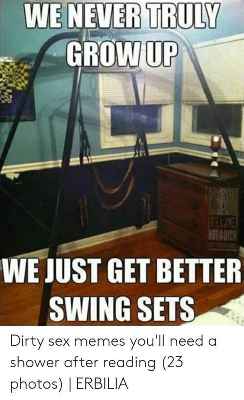 Dirty Sex Memes: WE NEVER TRULY  GROWUP  WE JUST GET BETTER  SWING SETS Dirty sex memes you'll need a shower after reading (23 photos) | ERBILIA