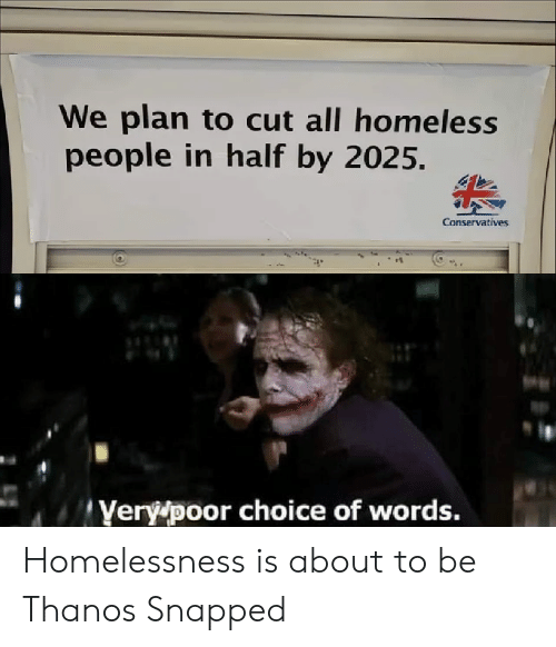 snapped: We plan to cut all homeless  people in half by 2025.  Conservatives  Yery poor choice of words. Homelessness is about to be Thanos Snapped