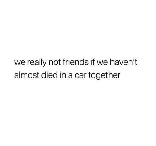 Friends, Relationships, and Car: we really not friends if we haven't  almost died in a car together