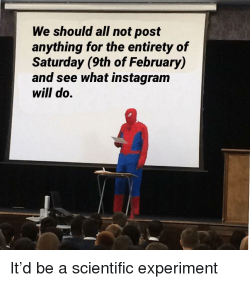 Instagram, Will, and All: We should all not post  anything for the entirety of  Saturday (9th of February)  and see what instagram  will do. It'd be a scientific experiment