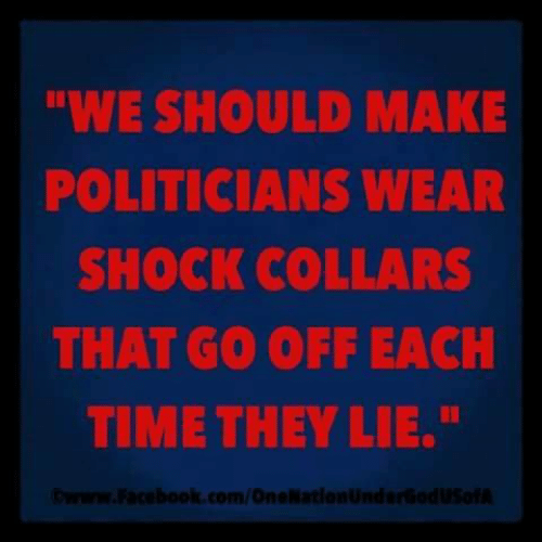 Facebook, Memes, and facebook.com: WE SHOULD MAKE  POLITICIANS WEAR  SHOCK COLLARS  THAT GO OFF EACH  TIME THEY LIE.  ©www.Facebook.com/OneNationundarGod usofA