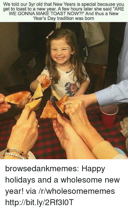 """New Year's, Tumblr, and Blog: We told our 3yr old that New Years is special because you  get to toast to a new year. A few hours later she said """"ARE  WE GONNA MAKE TOAST NOW?!"""" And thus a New  Year's Day tradition was born browsedankmemes:  Happy holidays and a wholesome new year! via /r/wholesomememes http://bit.ly/2Rf3l0T"""