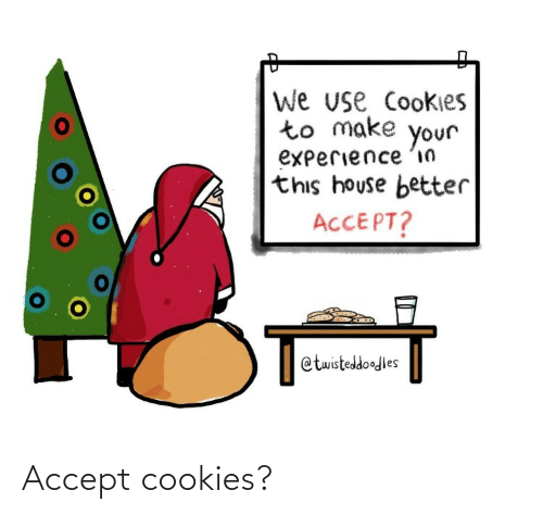 Make Your: We use Cookies  to make  your  experience 'in  this house better  ACCEPT?  @twisteddoodles Accept cookies?