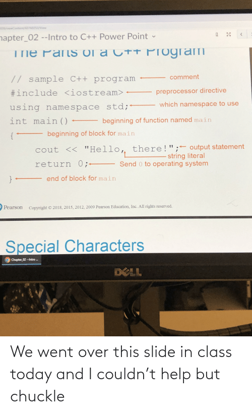 In Class: We went over this slide in class today and I couldn't help but chuckle