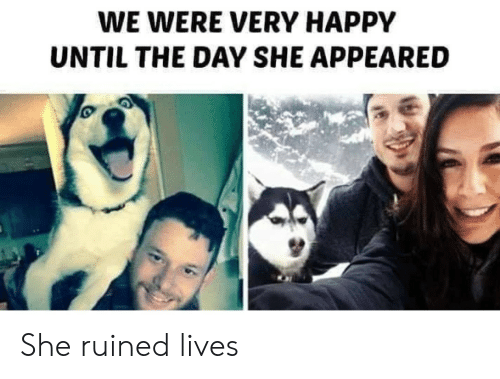 Happy, Day, and She: WE WERE VERY HAPPY  UNTIL THE DAY SHE APPEARED She ruined lives