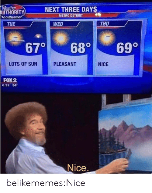 Detroit, Target, and Tumblr: Weather  AUTHORITY  AccuWeather  NEXT THREE DAYS  METRO DETROIT  THU  TUE  WED  670  69°  68°  LOTS OF SUN  PLEASANT  NICE  FOX2  6:32 54  Nice. belikememes:Nice