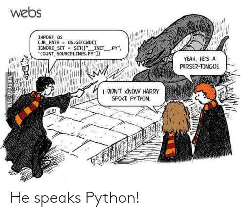 "9gag, Yeah, and Python: webs  IMPORT OS  CUR PATH  IGNORE SET SET("" INIT PY""  ""COUNT SOURCELINES.PY"")  os.GETCWD  YEAH, HE'S A  PARSER-TONGUE  R DIDNT KNOW HARRY  SPOKE PYTHON  VIA 9GAG COM He speaks Python!"