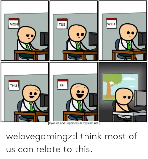 Explosm Net: WED  MON  TUE  FRI  THU  Cyanide and Happiness O Explosm.net welovegamingz:I think most of us can relate to this.