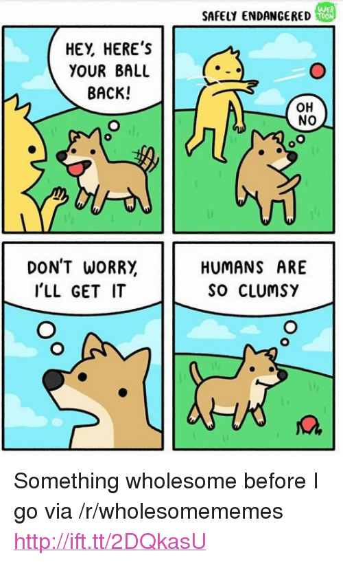 "Http, Wholesome, and Back: WED  SAFELY ENDANGERED  HEY, HEREs  YOUR BALU  BACK!  OH  NO  DON'T WORRY,  I'LL GET IT  HUMANS ARE  SO CLUmsY <p>Something wholesome before I go via /r/wholesomememes <a href=""http://ift.tt/2DQkasU"">http://ift.tt/2DQkasU</a></p>"
